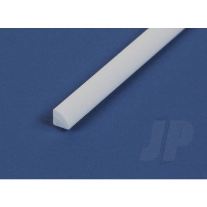 """Evergreen .060"""" Opaque White Styrene Quarter Round (4 Pack) 248"""