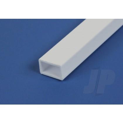 """Evergreen .125"""" x .250"""" Opaque White Styrene Rectangular Tube (3 Pack) 257"""