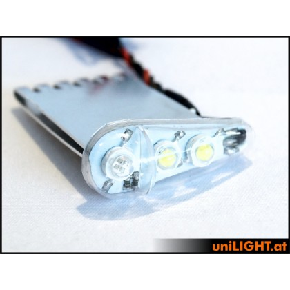 UniLight 24Wx2 Navigation & Strobe, x2, T-Fuse, 18mm Red - White DUAL18F-240x2-RTWE