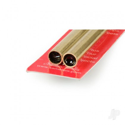 8x300mm Round Brass Tube, .45mm Wall (2pcs) 9826