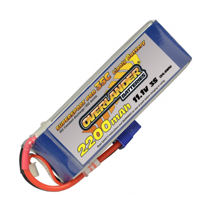 2200mAh 3S 11.1v 35C Supersport Lipo Battery from Overlander EC3 Connector