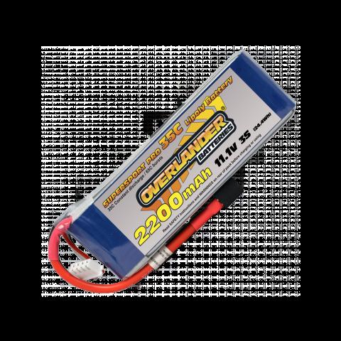 2200mAh 3S 11.1v 35C Supersport Lipo Battery from Overlander Deans Connector