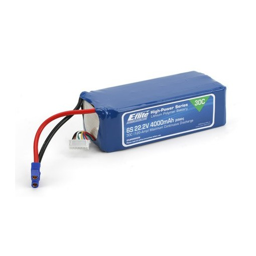 E-Flite 4000mah 6S 22.2volt 30C LiPo 12Gauge with EC3 Connector