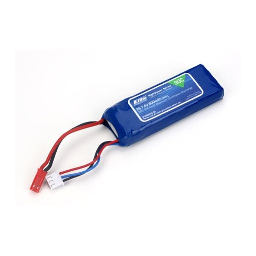 E-Flite 800mAh 2S 7.4v 30C LiPo With JST Connector EFLB8002SJ30