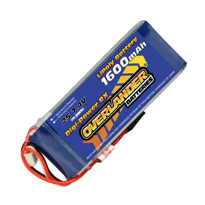 1600mAh 2S 7.4v LiPo Battery Receiver Pack - Overlander Digi-Power 1569