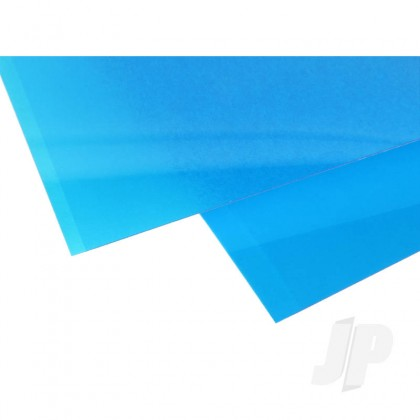 Evergreen 6x12in (15x30cm) Transparent Coloured Sheet .010in Thick BLUE (2 Sheet per pack) 9902