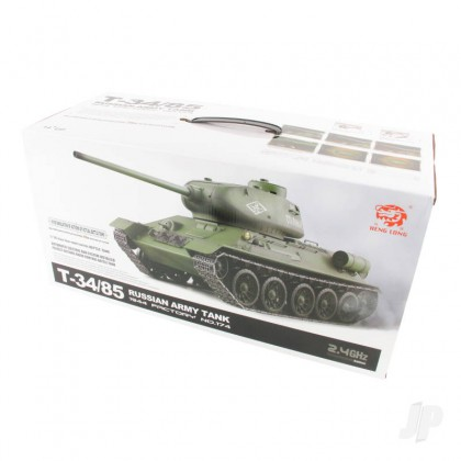 Henglong 1:16 Russian T-34/85 1944 Tank with Infrared Battle System (2.4GHz + Shooter + Smoke + Sound) HLG3909-1B