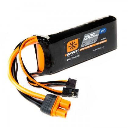 Spektrum 2000mAh 2S 7.4V Smart LiPo Receiver Battery IC3 SPMX20002SRX