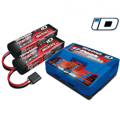 Traxxas Battery/charger completer pack (includes #2972 Dual iD charger (1) #2872X 5000mAh 11.1V 3-cell 25C LiPo battery (2)) (for United Kingdom) TRX2990TX