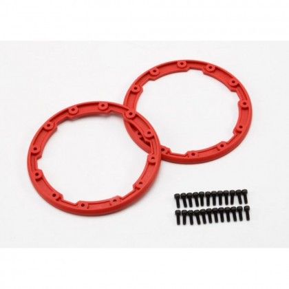Traxxas Sidewall protector beadlock style (red) (2pcs)/2.5x8mm CS (24) (for use with Geode wheels) TRX5667