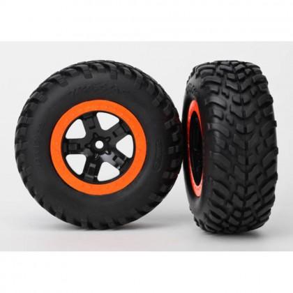 Traxxas Tire & wheel assy glued (SCT black orange beadlock wheels SCT off-road racing tires foam inserts) (2pcs) (2WD front) TRX5864