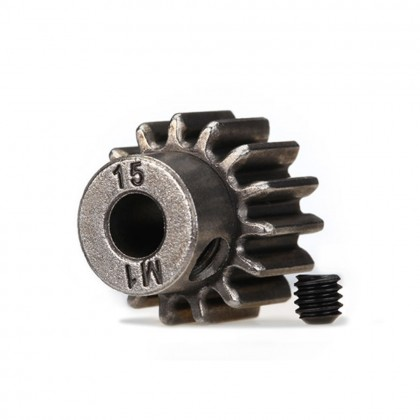 Traxxas Gear 15-T pinion (1.0 metric pitch) (fits 5mm shaft)/set screw (compatible with steel spur gears) TRX6487X