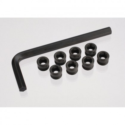 Traxxas Aluminium caps pivot ball (threaded aluminium hard-anodized with PTFE-coating) (8pcs)/hex wrench 5mm TRX7033X