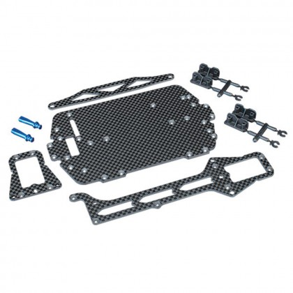 Traxxas Carbon fiber conversion kit (includes chassis upper chassis battery hold down adhesive foam tape hardware) TRX7525