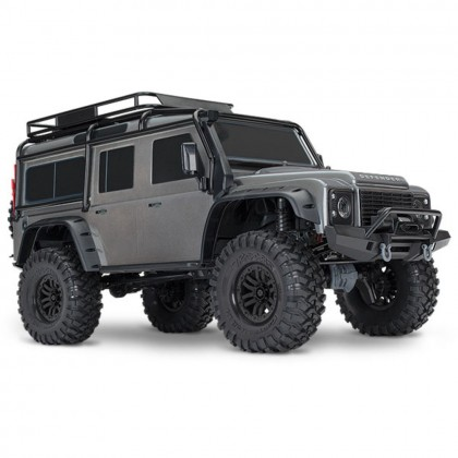 Traxxas Silver TRX-4 Scale and Trail Crawler with Land Rover Defender Body 1/10 Scale 4WD Electric Trail Truck RTR with TQi Traxxas Link Enabled 2.4GHz Radio System XL-5 HV ESC and Titan 550 motor TRX82056-4-SLVR