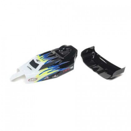 Losi Body & Wing, Black/White: Mini-B LOS210020
