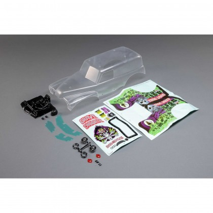 Losi Body Set, Grave Digger, Clear: LMT LOS240014