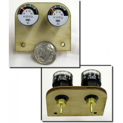 """BVM Mini Air Gauges PK2 With Mount BVM2280 These dime size, high quality gauges serve as a quick check of the integrity of your model's air systems. The dial registers up to 150 psi in 10lb increments. A laser cut 1/8"""" plywood board serves as a convenient"""