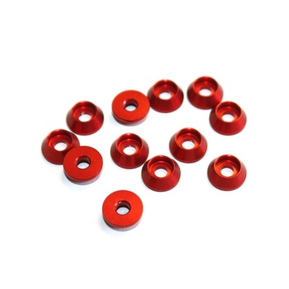 Secraft Cap Bolt Washer 3.0 (Red) SEC137 Material: aluminium 6061-T6 (anodised) Outer diameter: 10.0mm Inner diameter: 3.5mm Bolt Hole: M3, #4-40 12 per package
