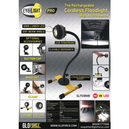 EYE-LIGHT PRO 10w Rechargeable Floodlight With 500mm Magnetic Gooseneck Stand From GLOFORCE GLFE10M8 With FREE MagFoot