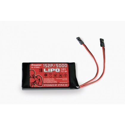 Graupner Lipo Battery 1S 5000mAh 3.8v TX (MZ18/MZ24) BT8083 Replacement transmitter battery for Graupner MZ18 & MZ24 Specifications Plug connector: JR  Width [mm]: 72 mm Voltage [V]: 3,7 V Height [mm]: 12 mm Weight [g]: 98 g For transmitters of RC systems
