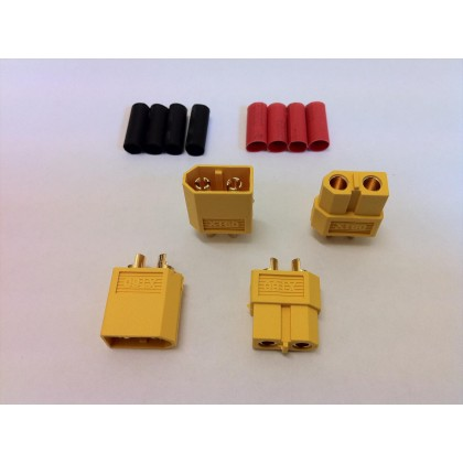 Logic RC XT60 Connector Set with Heat Shrink (2 Pairs) O-FS-XT60/02