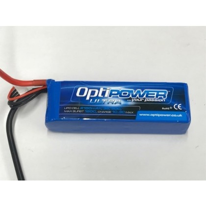 Optipower LiPo Battery 2150mAh 3S 50C OPR21503S50    2150mah 3S pack rated at 50C continuous, with a burst of 100C