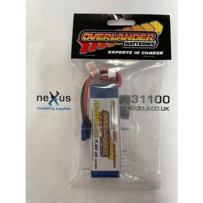 Overlander 2200mAh 2S 7.4v 35C Supersport Lipo Battery EC3