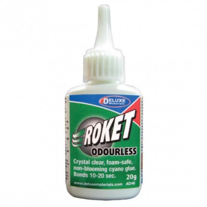Roket Odourless Foam Safe Cyano 20g AD46 from Deluxe Materials S-SE17/1 5060243900371