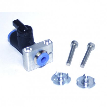 Alloy Mount for Festo QS Fuel Shut Off Tap with fittings