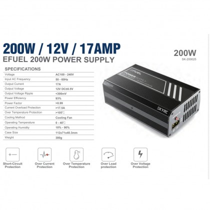 SkyRC 17A Power Supply 12 Volt 17 Amp 200W SK-200025