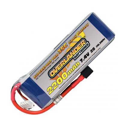 2200mAh 2S 7.4v 35C Supersport Lipo Battery from Overlander