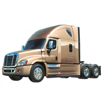 Tamiya Cascadia Evolutioon RC Truck Kit 56340 The Cascadia Evolution is an aerodynamically advanced and more fuel efficient version of the Cascadia tractor manufactured by Freightliner Trucks, a leading manufacture in the North American market. This R/C m