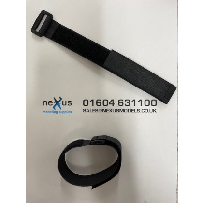 Velcro Battery Strap 300mm with Ring in Black