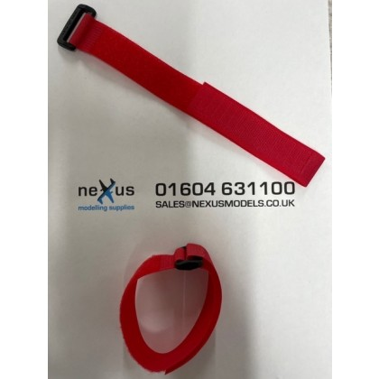 Velcro Battery Strap 300mm with Ring in Red