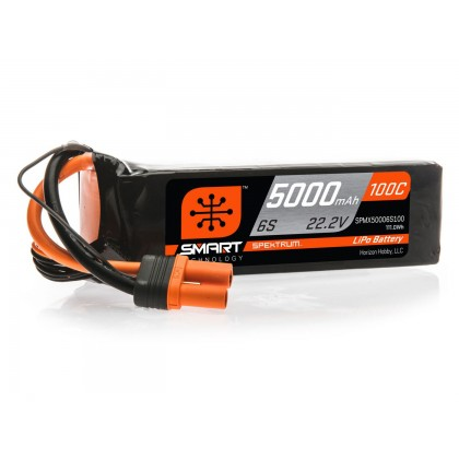 Spektrum 5000mAh 6S 22.2V 100C Smart LiPo Battery IC5 SPMX50006S100