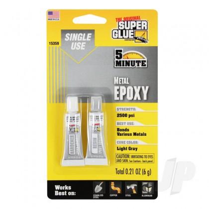 Super Glue 5 Minute Quick Setting Single Use Metal Epoxy (0.21oz, 6g) SUP15359