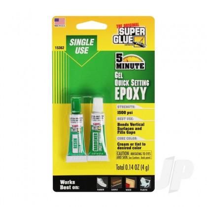 Super Glue 5 Minute Quick Setting Single Use Epoxy Gel (0.14oz, 4g) SUP15362