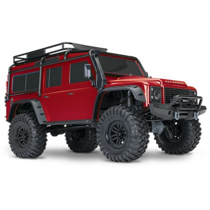Traxxas Red TRX-4 Scale and Trail Crawler with Land Rover Defender Body 1/10 Scale 4WD Electric Trail Truck RTR with TQi Traxxas Link Enabled 2.4GHz Radio System XL-5 HV ESC and Titan 550 motor TRX82056-4-RED