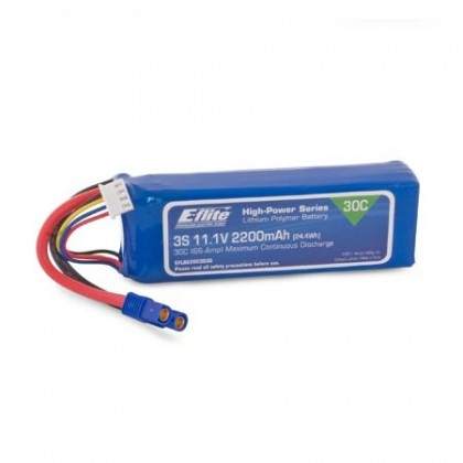 E-Flite 2200mAh 3S 11.1v 30C Lipo Battery With EC3 Connector EFLB22003S30