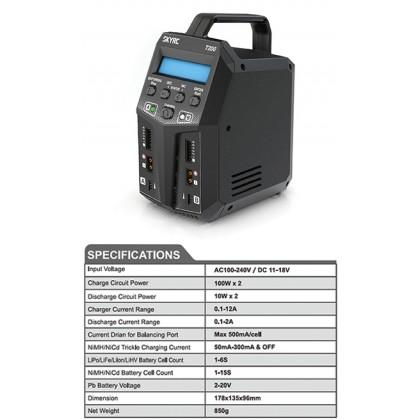 SkyRC T200 AC/DC Dual Balance Charger SK-100155-04 2x100Watt