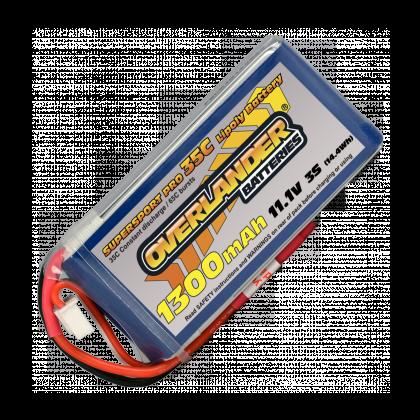 1300mAh 3S 11.1v 35C Supersport Lipo Battery from Overlander Deans Connector