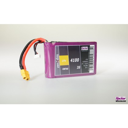 Hacker TopFuel LiFe Battery 3S 4100mAh 30C With MTAG Ideal for KingTech Turbines 94100351