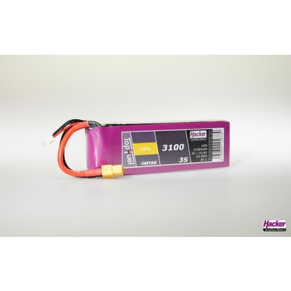 Hacker TopFuel LiFe Battery 3S 3100mAh 30C With MTAG Ideal for KingTech Turbines 93100351