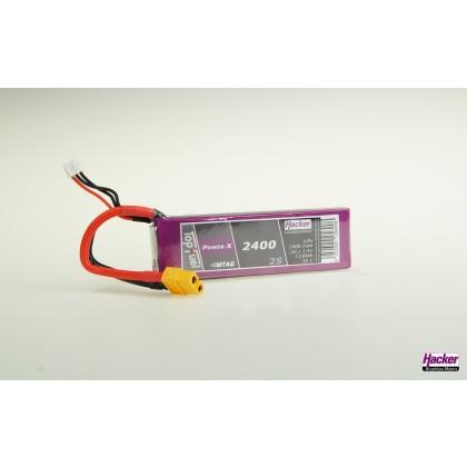 Hacker TopFuel Power-X 2S 2400mAh 35C LiPo Battery With MTAG 92400261