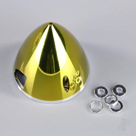 J Perkins 75mm Chrome Yellow Spinner (with Aluminium Back Plate) JPDAC02071