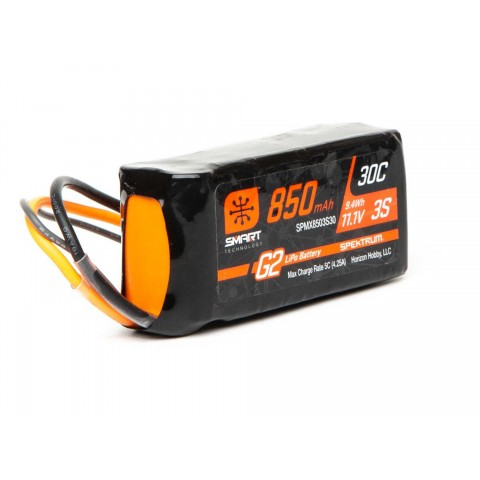 Spektrum 11.1V 850mAh 3S 30C Smart LiPo Battery G2: IC2 SPMX8503S30