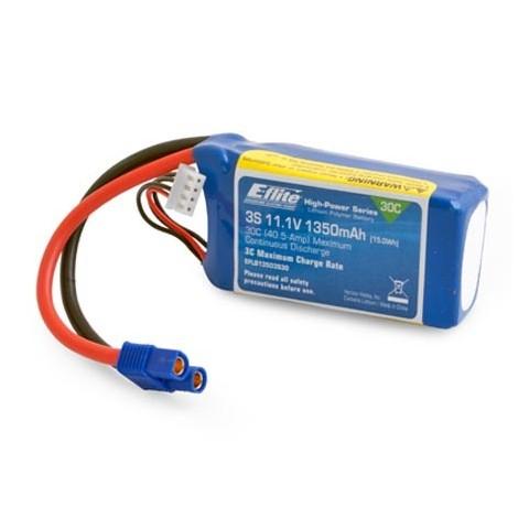 E-Flite 1350mAh 3S 11.1v 30C LiPo 13 AWG EC3 Connector EFLB13503S30