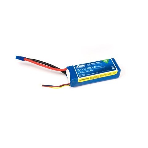 E-Flite 2200mah 3S 11.1volt 50C LiPo 13AWG with EC3 connector