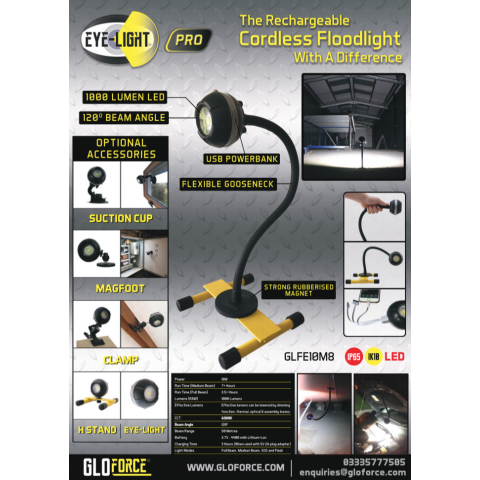 EYE-LIGHT PRO 10w Rechargeable Floodlight With 500mm Magnetic Gooseneck Stand From GLOFORCE GLFE10M8
